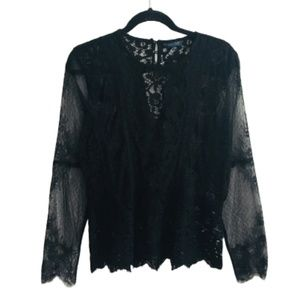 Lucky Brand | Sheer Lace Long Sleeve Blouse NWOT